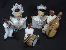 Mid Century Porcelain Chinese Jazz Player Figures