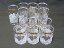 13 Dow Jones Ten Yr. Average 1958-1968 Bar Glasses