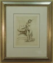 Litho of a Pencil Nude Signed Raphael Soyer