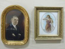 Two Antique Portraits in Victorian Gilt Frames