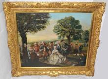19th Century Oil Painting of Rococo Court Figures