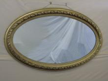 Large Antique Oval Carved Gilt Wood Mirror