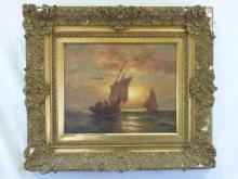 Oil on Canvas of a Seascape After Moran