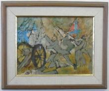 American School Abstract Civil War Oil Painting