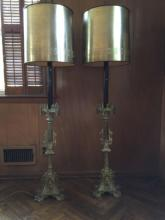 Pair Antique Gothic Style Candlestick Mount Lamps