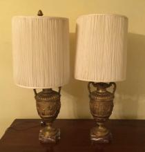 Pair of Antique Urn Mount Lamps on Marble Bases