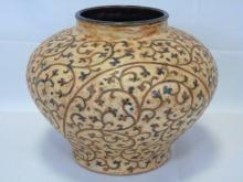 Glazed Earthenware Pottery Planter Scroll Design