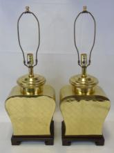 Pair of Asian Style Brass Lamps w/ Wood Base