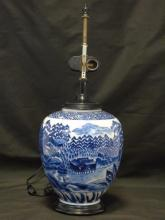 Blue & White Chinese Painted Porcelain Lamp