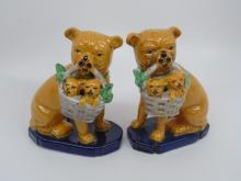 Pair of Porcelain Staffordshire Style Dog Statues
