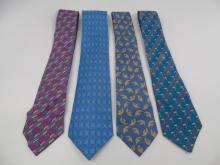 4 Vintage Hermes Paris Silk Neck Ties