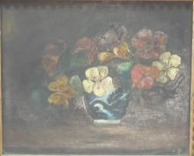 Antique Still Life with Flowers & Vase