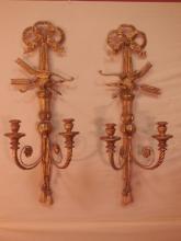 Pair of English Regency Gilt Wood Sconces