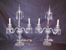 Pair of Crystal Candelabra Table Lamps