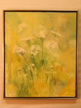 Carol Aurer Oil on Burlap Canvas Painting - Signed
