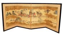 Meiji Japanese Four Panel Byobu Screen Painting