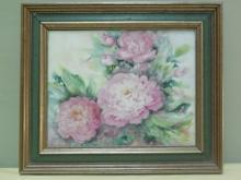 Flower Still Life Painting on Tile Signed Rubin