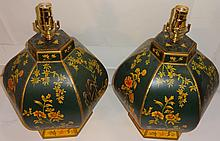 Pair of Antique Table Lamps- Painted Floral Motif