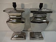 Pair of Mid-Century Silver Plated Table Lamps