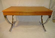 Mid-Century Walnut Desk with Chrome Legs