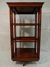 Antique Mahogany Swivel Book Caddy