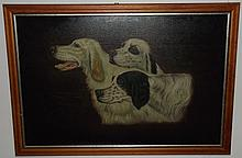 Antique Portrait of Three Hunting Dogs- Oil/Canvas