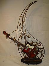 Guitar Art Piece with Wrought Iron Stand