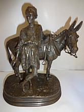 Bronze Sculpture- Boy with Mule- Dubucand