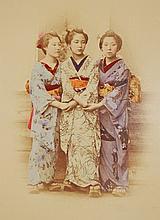 Japanese Hand-Tinted Photograph Young Geisha Girls