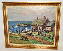 Framed Oil Painting by William Fisher Village