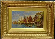 Circa 1900 Oil on Canvas Harbor Scene
