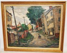 Framed Oil on Canvas by William Fisher of Village