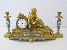 Antique 19th C. Gilt Bronze Clock & Candlesticks