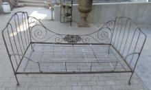 Vintage French Folding Iron Campaign Day Bed