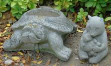 2 Concrete Garden Statues Bear & Turtle Planter