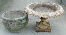 Antique Cast Iron Urn Bird Bath & Concrete Planter