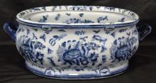 Chinese Style Blue & White Porcelain Foot Bath