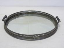 Antique Mirrored & Galleried Tray w/ Handles
