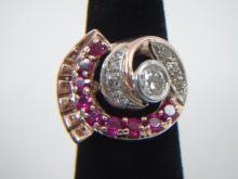 Estate 14kt Gold Diamond & Ruby Cocktail Ring