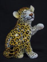 Hand Painted Porcelain Cheetah Cub