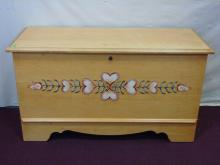 Pine Blanket Chest w/ Hand Painted Detail