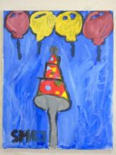 Naive Painting of a Party hat and Balloons