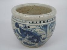 Chinese Painted Blue & White Porcelain Bowl / Pot