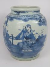 Large Chinese Blue and White Painted Porcelain Pot