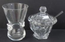 Baccarat & Steuben Art Glass Vase & Jam Compote