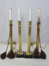 Four Gilt Brass Neo Classical Candlestick Lamps