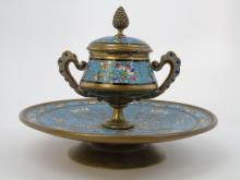 Antique Asian Cloisonne Enamel Inkwell