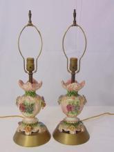 Pair Mid Century Italian Pottery Floral Motif Lamp