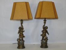 Pair Bronze Nymph Figure Table Lamps