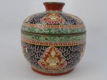 Antique Large Thai Benjarong Porcelain Toh Jar